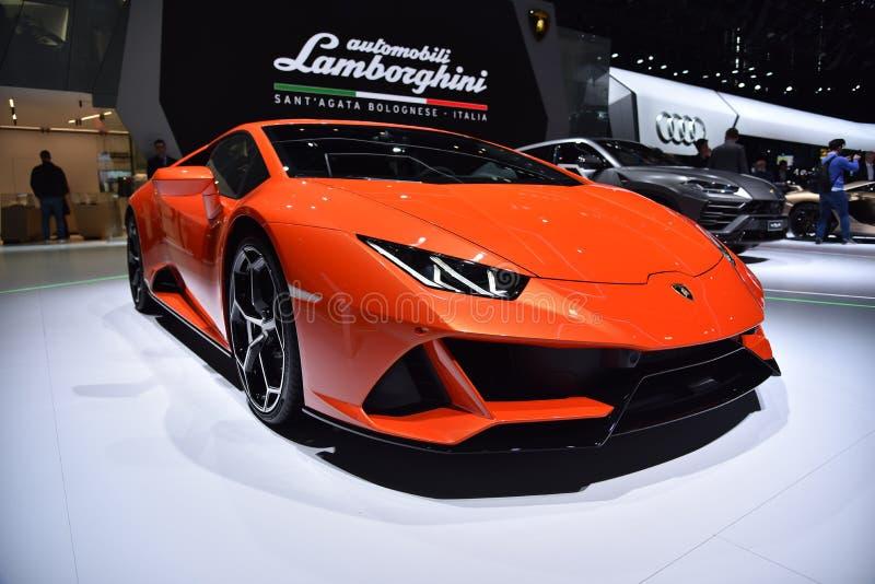 Genebra, Suíça - 5 de março de 2019: O carro de Lamborghini Huracan EVO apresentou na 89th exposição automóvel internacional de G fotos de stock royalty free