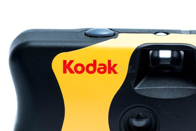 Genebra/Switzerland-09 08 18: Câmera descartável 35mm de Kodak fotos de stock royalty free
