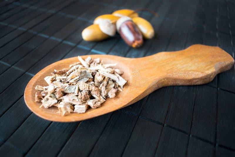 Geneeskrachtige installatieeik (Quercus) in bruine houten lepel op backg stock fotografie