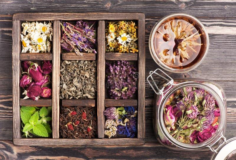 Geneeskrachtige kruiden in een houten doos en een glaskruik voor aftreksel en tinten royalty-vrije stock afbeelding