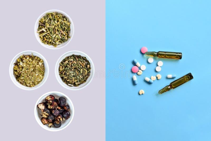 Geneeskrachtige kruiden en geneesmiddelen van moderne geneeskunde royalty-vrije stock fotografie
