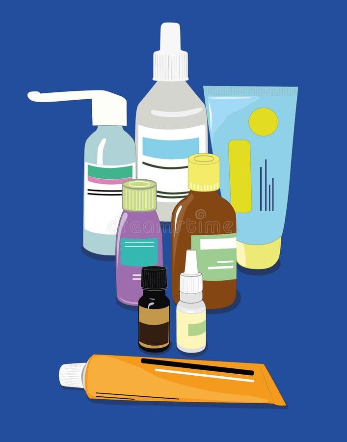 Geneeskunde, apotheek, het ziekenhuisreeks van drugs met etiketten Medicijn, farmacieconcept Vector stock illustratie