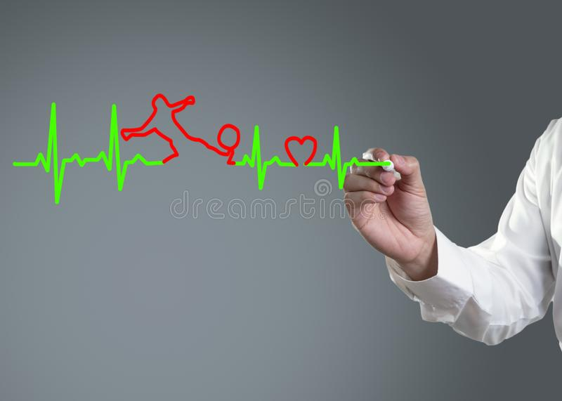 Geneeskunde, de tekening van de Hand stock afbeeldingen