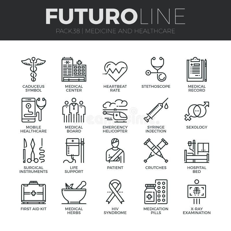 Geneeskunde en de Lijn Geplaatste Pictogrammen van Gezondheidszorgfuturo vector illustratie