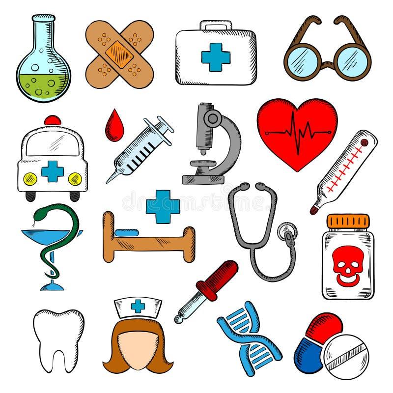 Geneeskunde en medicijn geplaatste pictogrammen royalty-vrije illustratie