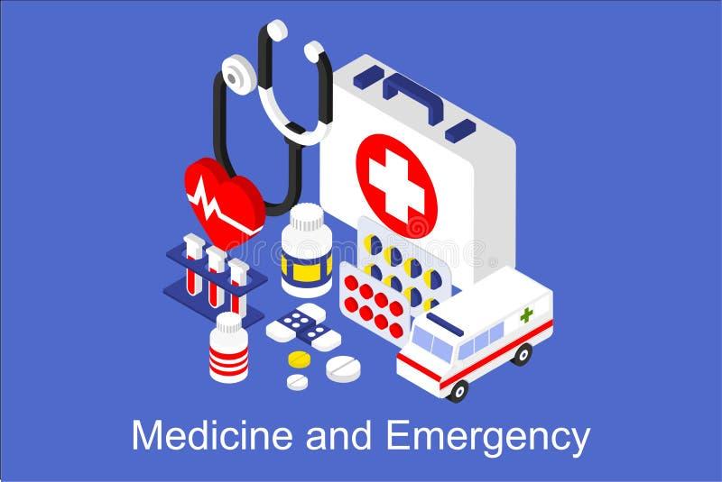 Geneeskunde en Noodsituatie, banner met medische apparatuur en medicijnen vectorillustratie vector illustratie