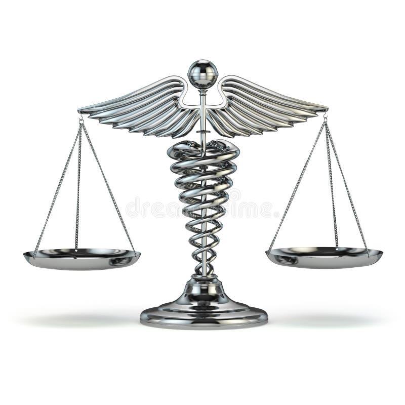Geneeskunde en rechtvaardigheid Caduceus symbool als schalen Conceptuele imag stock illustratie