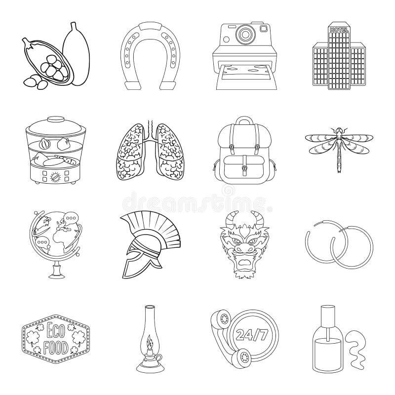 Geneeskunde, het koken, reis en ander Webpictogram in overzichtsstijl opleiding, het aansteken, taxipictogrammen in vastgestelde  stock illustratie