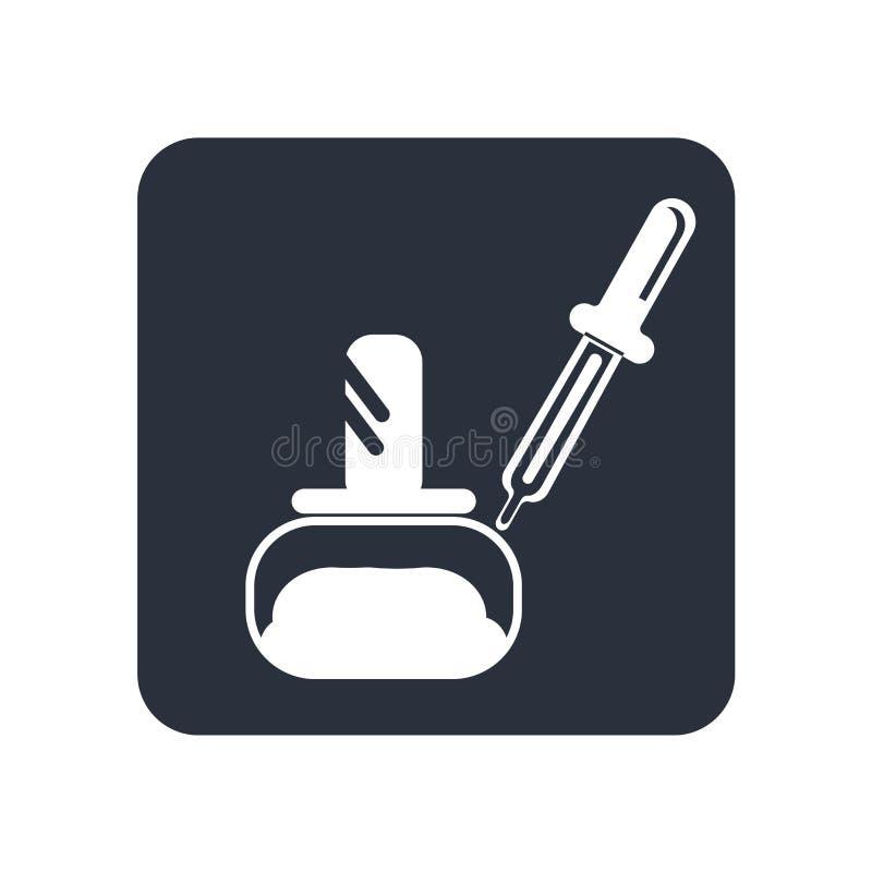 Geneeskunde kleine fles met druppelbuisje inbegrepen voor het pictogram vectordieteken van de dalingendosering en symbool op witt stock illustratie