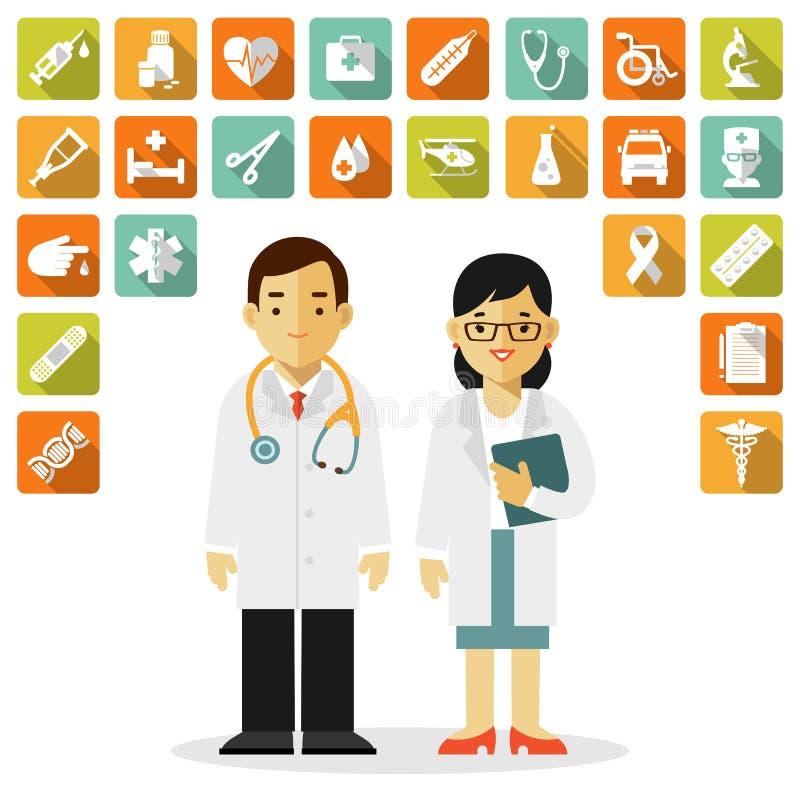 Geneeskunde met arts, verpleegster en medische pictogrammen in vlakke die stijl wordt op witte achtergrond wordt geïsoleerd gepla vector illustratie
