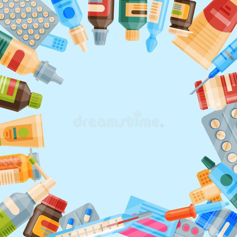 Geneeskunde om patroon vectorillustratie Geneeskunde, apotheek, het ziekenhuisreeks van drugs met etiketten medicijn vector illustratie