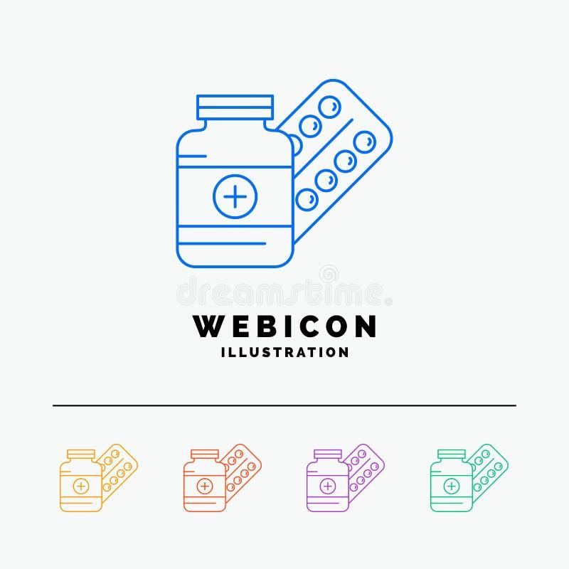 geneeskunde, Pil, capsule, drugs, tablet 5 het Pictogrammalplaatje van het Rassenbarrièreweb op wit wordt geïsoleerd dat Vector i royalty-vrije illustratie