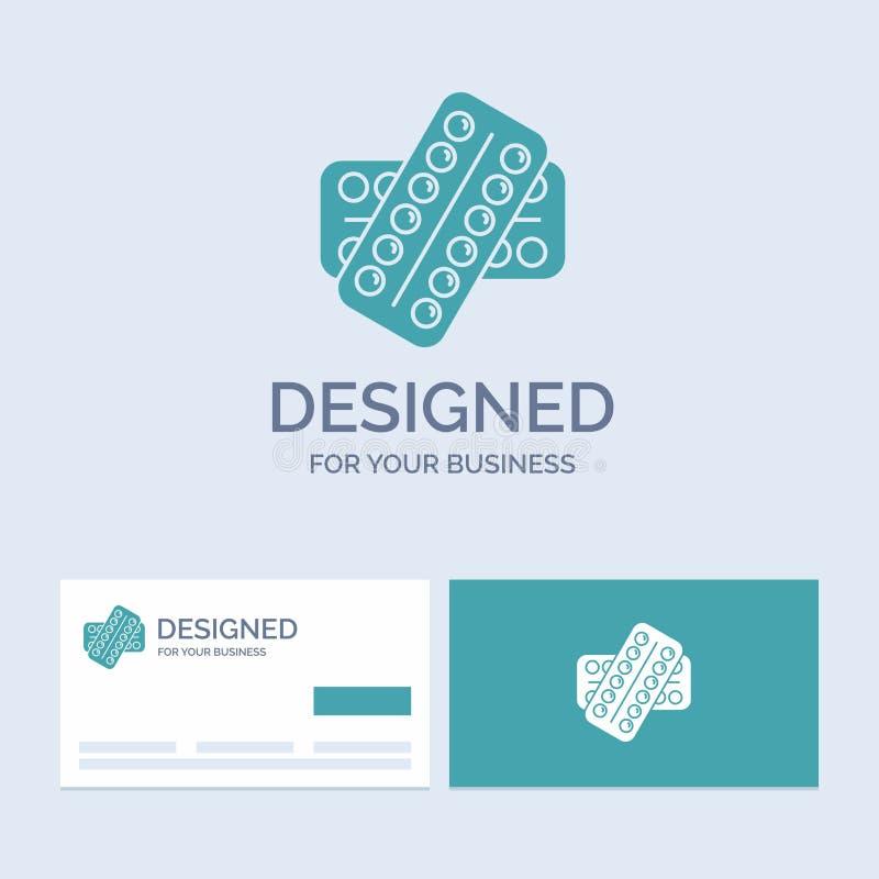 geneeskunde, Pil, drugs, tablet, geduldige Zaken Logo Glyph Icon Symbol voor uw zaken Turkooise Visitekaartjes met Merkembleem stock illustratie