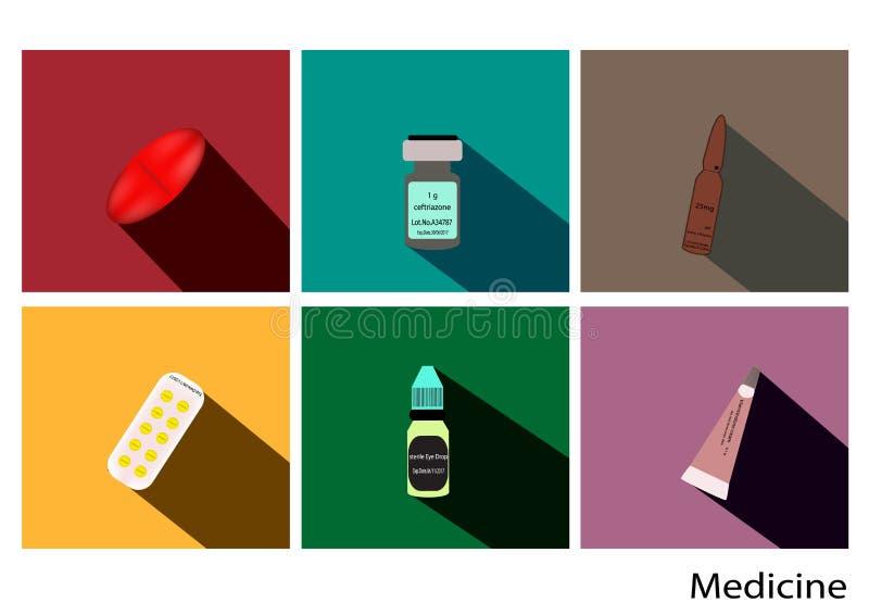 Geneeskunde vlakke pictogrammen die met lange schaduw, drug vectorbeeld, pillenpak, samenvatting worden geplaatst stock illustratie