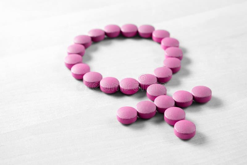 Geneeskunde voor vrouw stock afbeeldingen