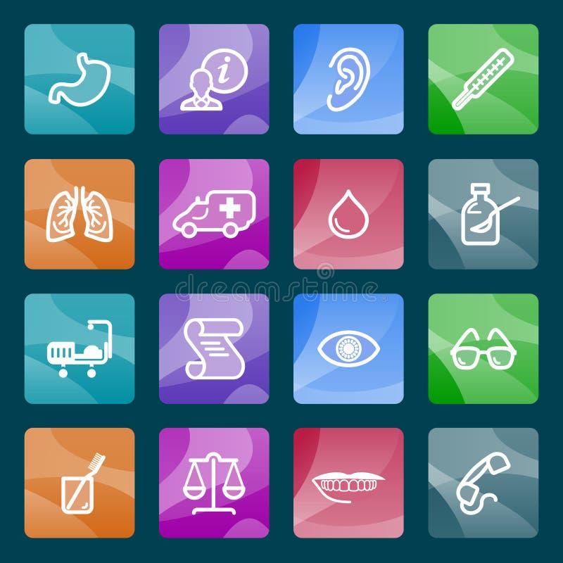 Geneeskunde witte pictogrammen op kleurenknopen. vector illustratie