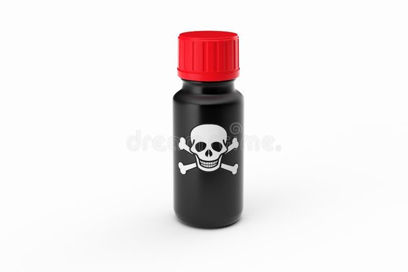 Geneeskunde zwarte fles die met sculletiket wordt geïsoleerd stock illustratie