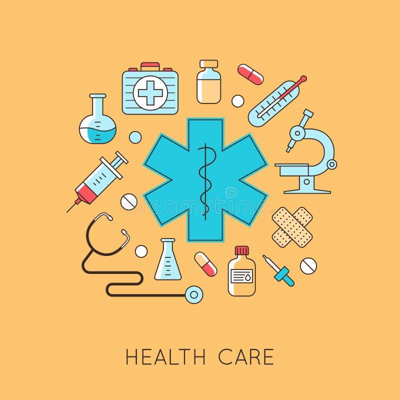 Geneeskundeachtergrond met het hart, drugs, medisch materiaal stock illustratie