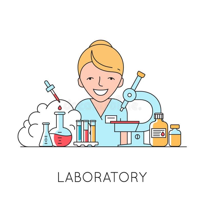 Geneeskundeachtergrond met verpleegster, medische en laboratoriummateriaal vector illustratie