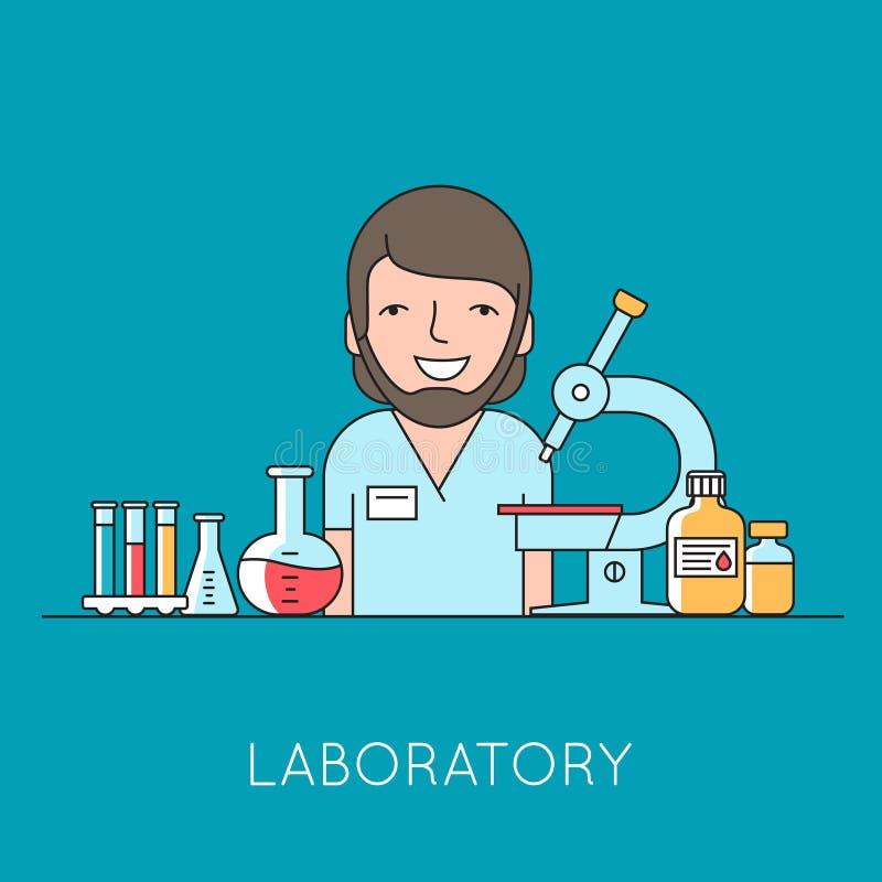 Geneeskundeachtergrond met verpleegster, medische en laboratoriummateriaal stock illustratie