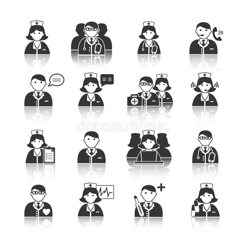 Geneeskundeartsen en Verpleegsters Geplaatste Pictogrammen stock illustratie