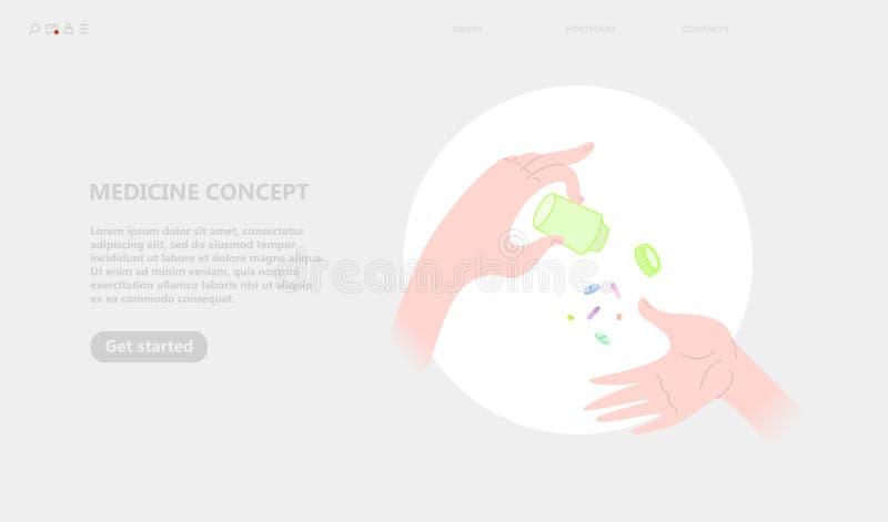 Geneeskundeconcept, handen die pillen en een kruik geneeskunde houden royalty-vrije illustratie