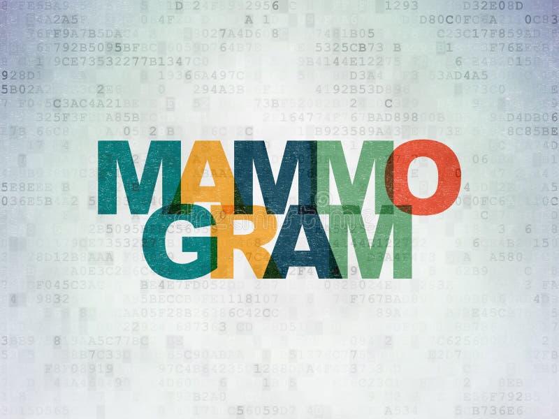 Geneeskundeconcept: Mammogram op Digitale Gegevensdocument achtergrond stock illustratie