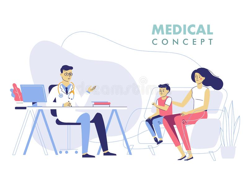 Geneeskundeconcept met arts en familie pati?nten vector illustratie