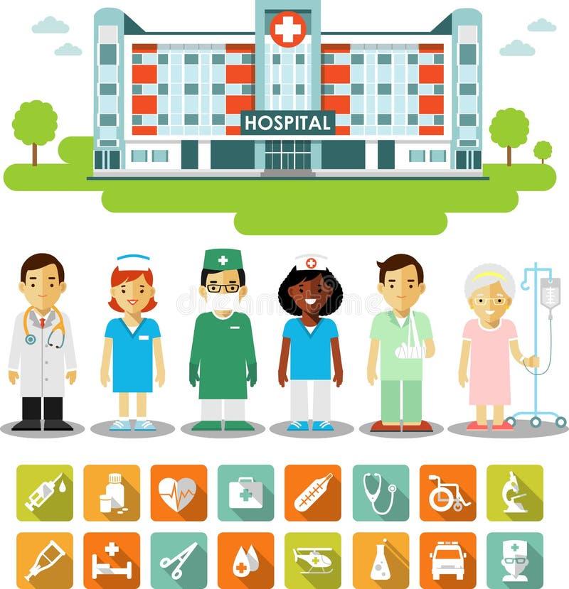 Geneeskundeconcept met mensen, pictogrammen en de het ziekenhuisbouw stock illustratie