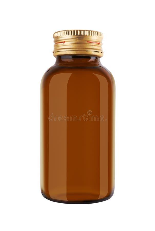 Geneeskundefles bruin glas royalty-vrije stock afbeelding