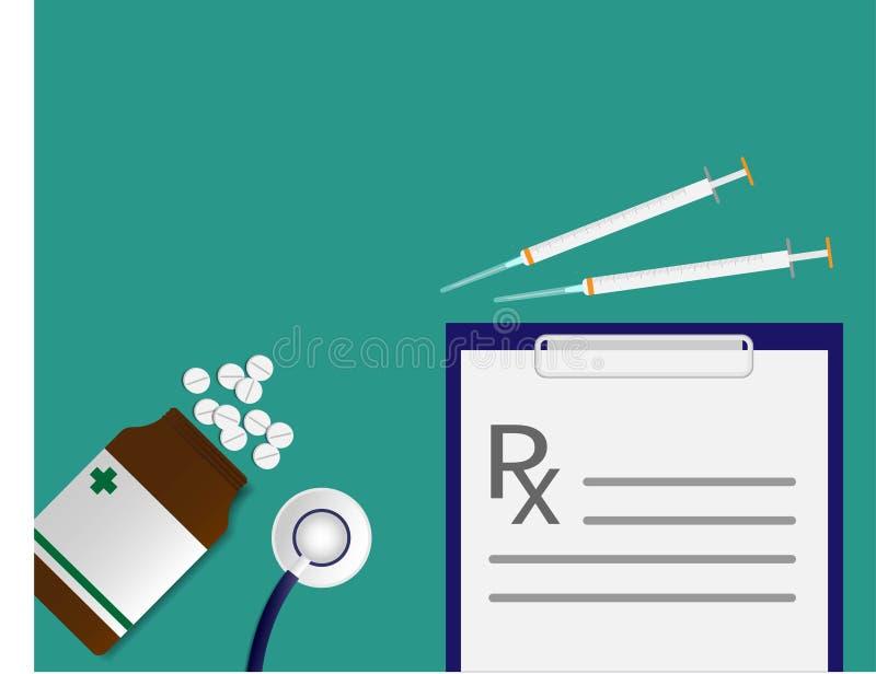 Geneeskundeflesje en rx van voorschrift en injectienaald op de groene achtergrond stock afbeelding