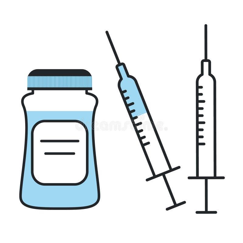 Geneeskundeflesje en spuitpictogram Medicijneninjectie met blauw vaccin royalty-vrije illustratie