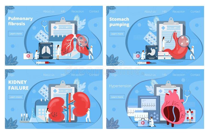 Geneeskundelandingspagina's Concept pyelonephritis, maag, longen, hartkwalen, hypertensie stock illustratie