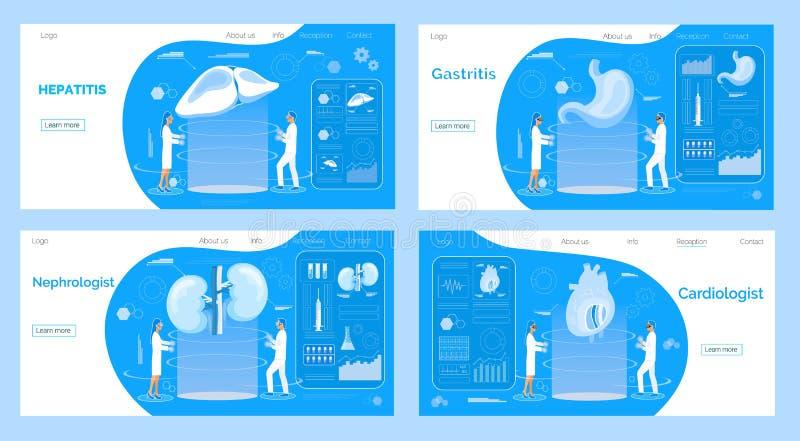 Geneeskundelandingspagina's Conceptenvector van pyelonephritis, maag, longen, hartkwalen, hypertensie stock illustratie