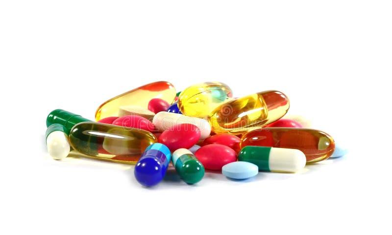 Geneeskundepillen in pakken Pillen in blaarpak, Capsules en pil in blaren wordt ingepakt die stock afbeelding