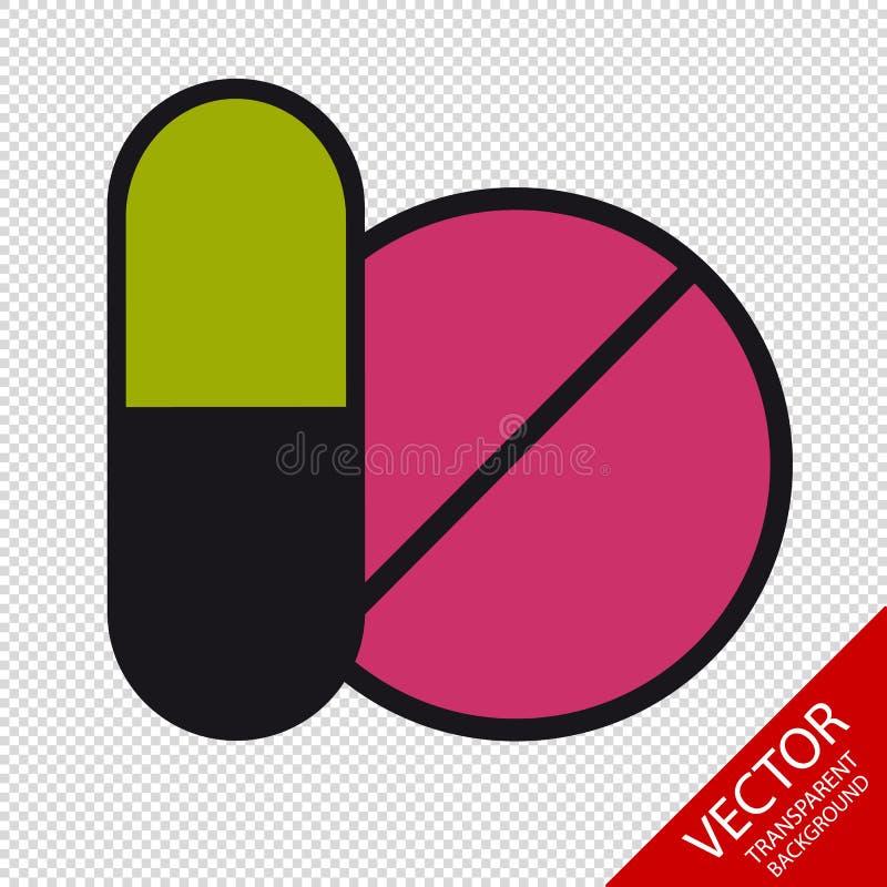 Geneeskundepillen - VectordiePictogrammen - op Transparante Achtergrond worden geïsoleerd royalty-vrije illustratie