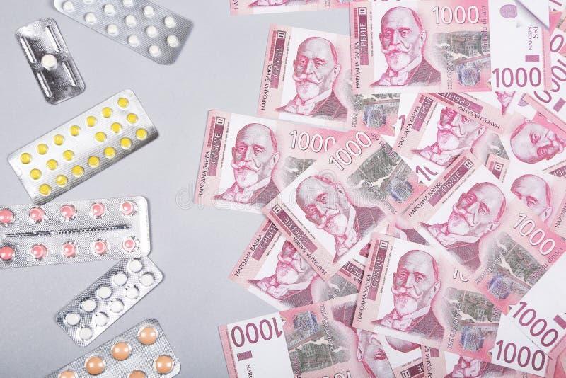 Geneeskundeuitgaven Hoge kosten van medicijnconcept Farmaceutische zaken stock afbeeldingen