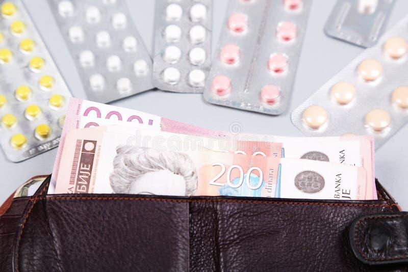 Geneeskundeuitgaven Hoge kosten van medicijnconcept Farmaceutische zaken royalty-vrije stock fotografie