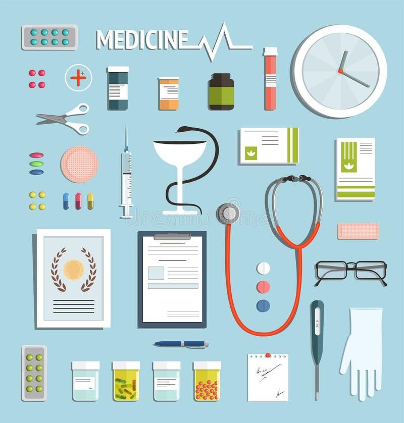 Geneeskundevoorwerpen en Geneesmiddelinzameling royalty-vrije illustratie