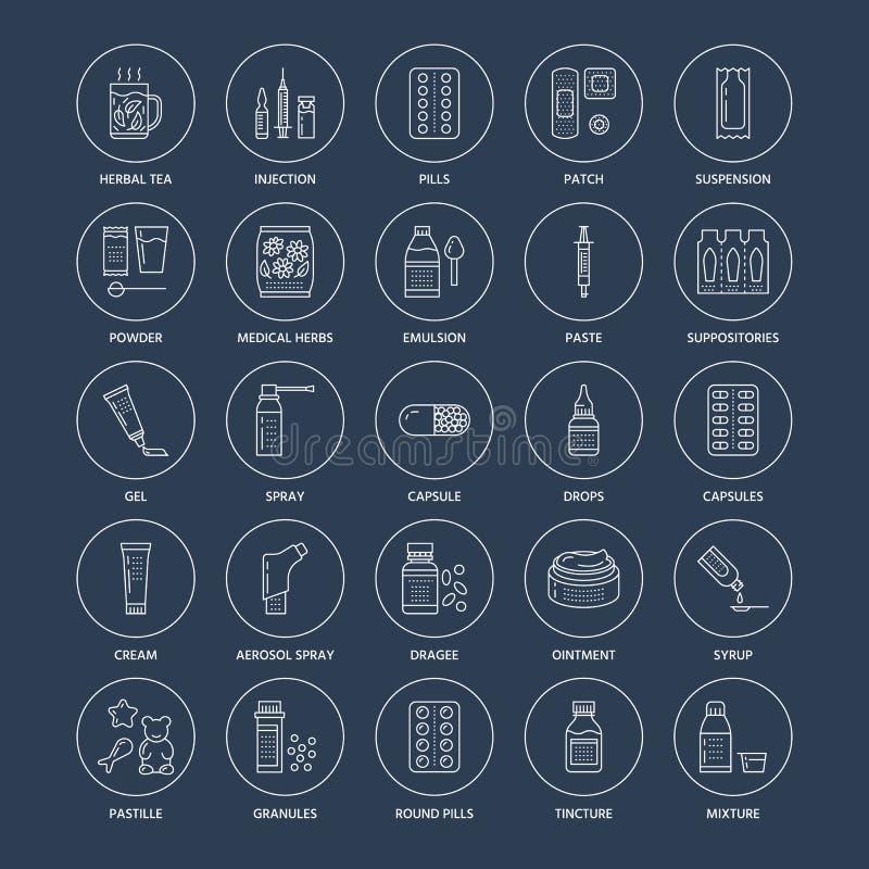 Geneesmiddelen, de lijnpictogrammen van doseringsvormen Apotheekgeneesmiddelen, tablet, capsules, pillen, antibiotica, vitaminen, stock illustratie
