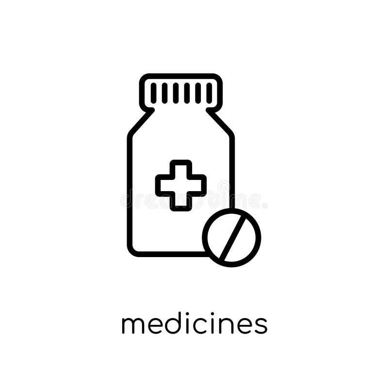 geneesmiddelen pictogram In modern vlak lineair vectorgeneesmiddelen pictogram royalty-vrije illustratie