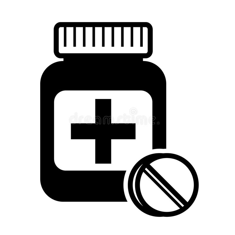 Geneesmiddelen, pillenpictogram - stock illustratie