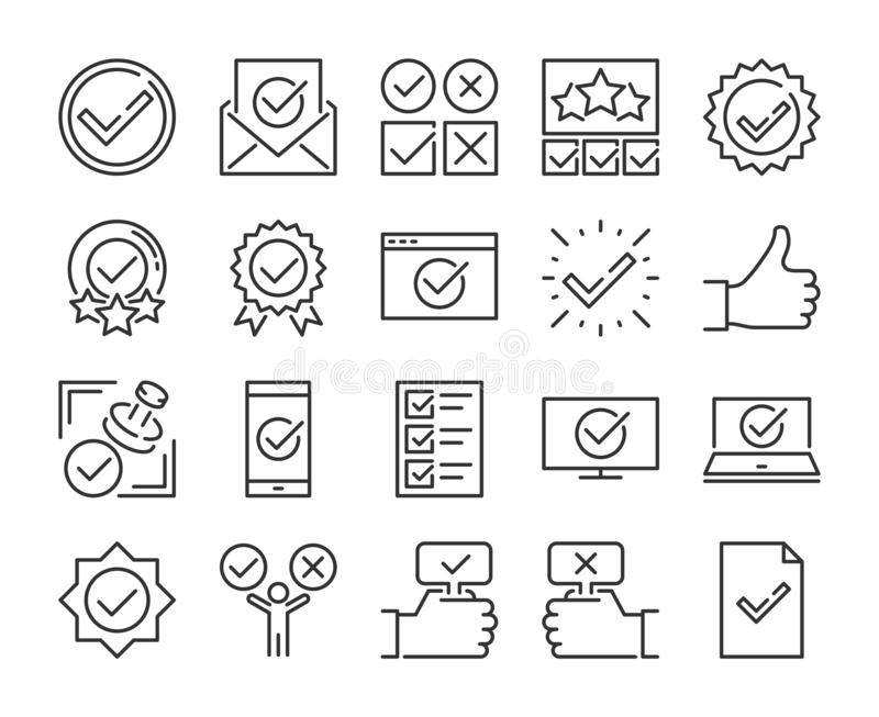 Genehmigen Sie Ikone Genehmigte und Häkchenlinie Ikonensatz Editable Anschlag Pixel perfekt stock abbildung