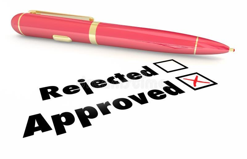 Genehmigt gegen zurückgewiesenen Checklisten-Kasten Mark Pen stock abbildung