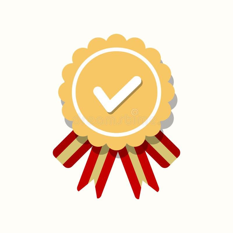 Genehmigte oder zugelassene Medaillenikone in einem flachen Design Rosettenikone Preisvektor vektor abbildung