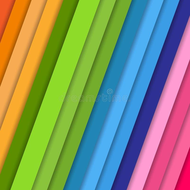 Geneigde vectorstroken met schaduw Abstract kleurrijk patroon als achtergrond in de violette blauwe roze oranje dekking van de kl stock illustratie
