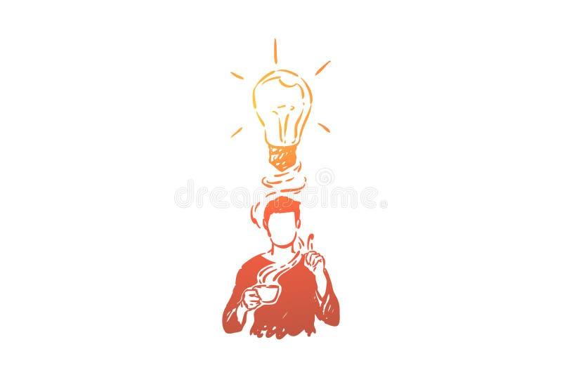 Generación de las ideas metáfora, hombre con gastos indirectos de la bombilla libre illustration