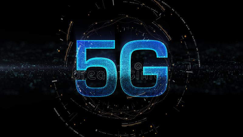 generación innovadora de alta velocidad inalámbrica digital del icono 5G quinta libre illustration