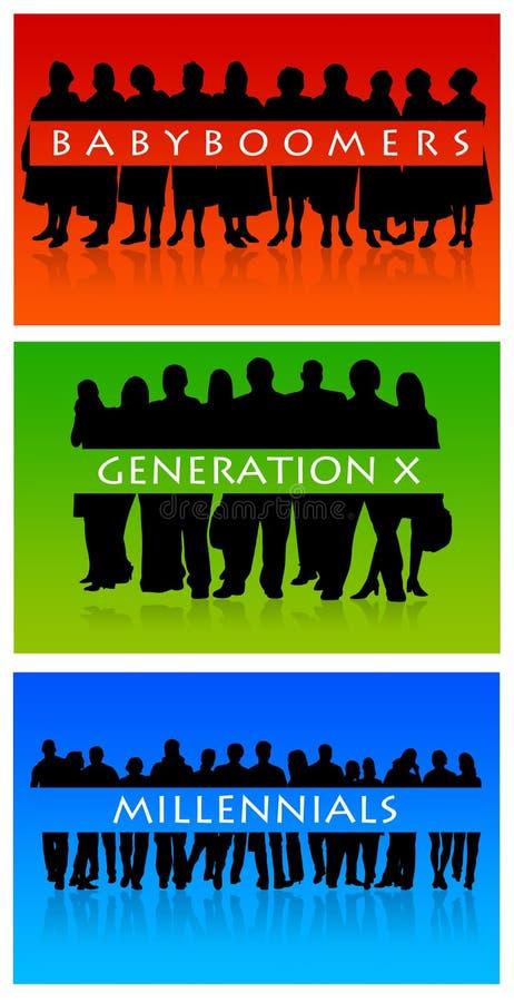 Generaciones ilustración del vector
