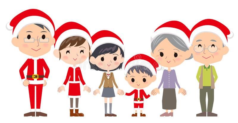 Generaciones Christmas_Side de la familia tres por el lado libre illustration